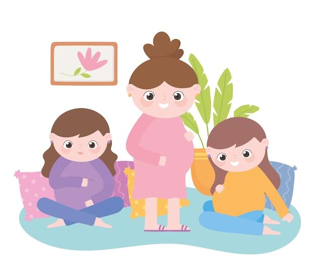 Zwangerschap en moederschap, groep schattige zwangere vrouwen cartoon