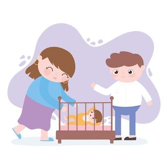 Zwangerschap en moederschap, mama en papa met baby in wieg