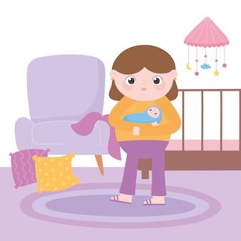 Zwangerschap en moederschap, moeder met baby in handen in de kamer met wieg en stoel