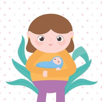 Zwangerschap en moederschap, schattige moeder met haar baby cartoon