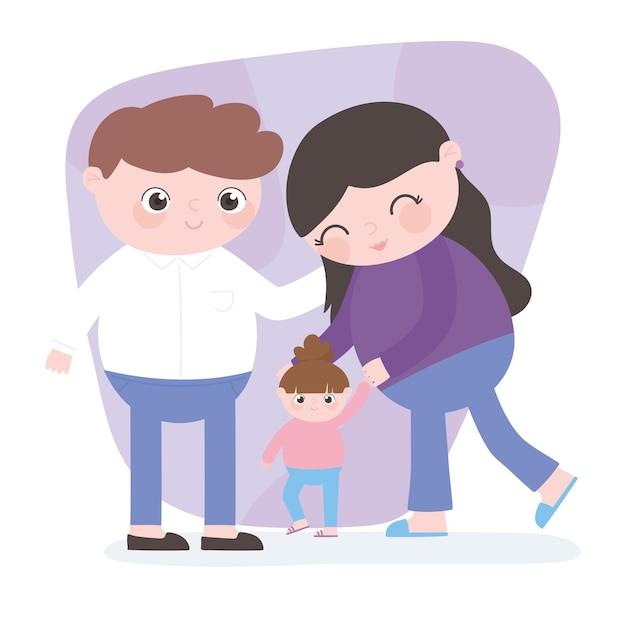 Zwangerschap en moederschap, schattige ouders met dochtertje wandelen