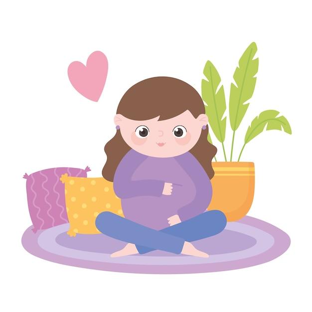 Zwangerschap en moederschap, schattige zwangere vrouw buik zittend op tapijt aan te raken Premium Vector