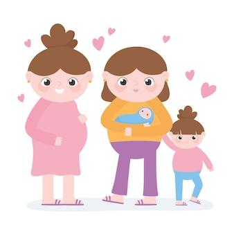 Zwangerschap en moederschap, schattige zwangere vrouw en moeder met kinderen cartoon