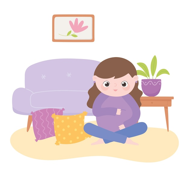 Zwangerschap en moederschap, schattige zwangere vrouw zitten in de woonkamer