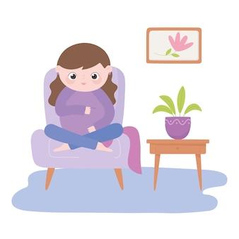 Zwangerschap en moederschap, schattige zwangere vrouw zittend op een stoel cartoon