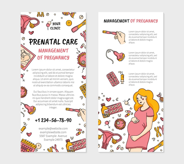 Zwangerschap en prenatale zorg kliniek folder in doodle-stijl