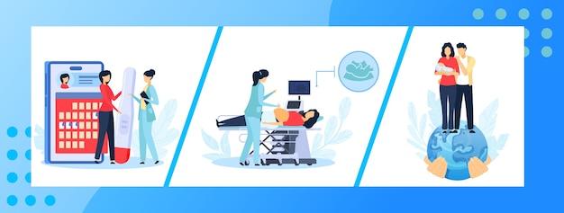 Zwangerschap geneeskunde illustratie set.