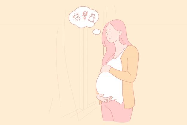 Zwangerschap karakter vrouw, vrouwelijk lichaam conditie illustratie