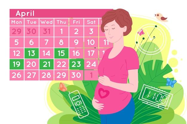 Zwangerschap medische afspraak. zwangere gelukkige mooie jonge vrouw maakt een afspraak met een arts met behulp van een kalender. platte cartoon vectorillustratie van een vrouw in afwachting van de geboorte van een kind.