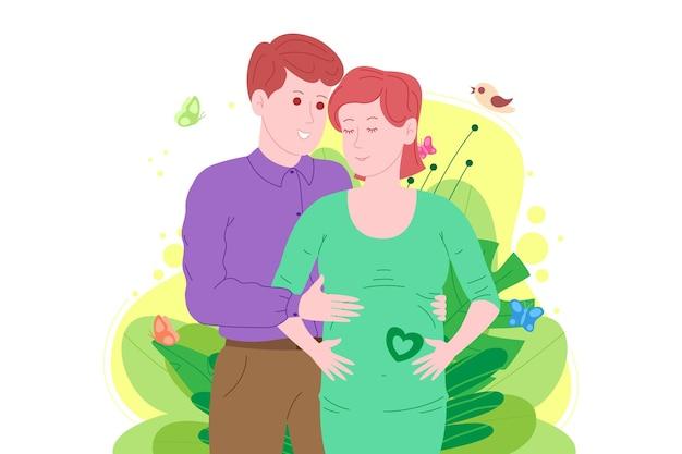 Zwangerschap, moederschap concept. zwangere en gelukkige mooie jonge vrouw houdt haar buik vast, omhelsd door een jonge man. platte cartoon vectorillustratie van een echtpaar in afwachting van de geboorte van een kind.