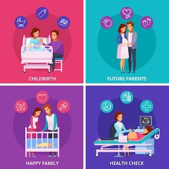 Zwangerschap pasgeboren cartoon design concept Gratis Vector