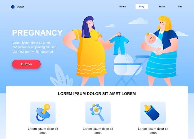 Zwangerschap platte bestemmingspagina. zwangere vrouw en jonge moeder met babywebpagina.