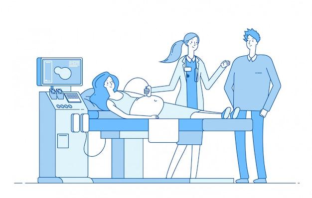 Zwangerschap scannen. zwangere vrouw echografisch onderzoek. echtgenoot arts die monitorsonogram kijkt. diagnostisch beeld zwangerschap