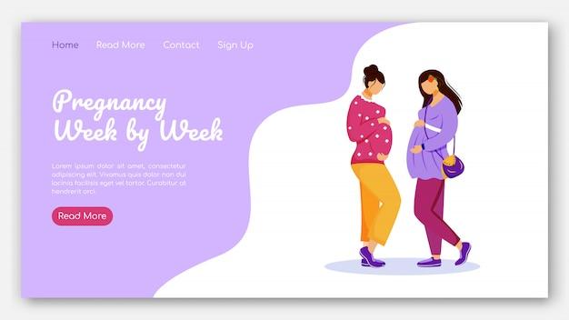 Zwangerschap van week tot week bestemmingspagina vector sjabloon. kalender voor de interface-idee van de zwangere vrouwenwebsite met vlakke illustraties. prenatale zorg homepage lay-out bestemmingspagina