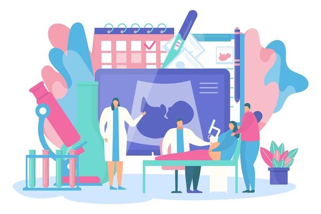 Zwangerschap vruchtbaarheid concept vector illustratie kleine platte dokter karakter maken echografie voor zwangerschap...
