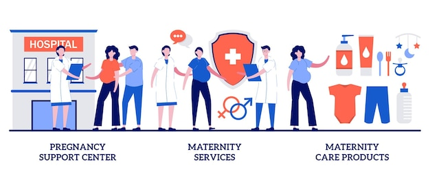 Zwangerschapsondersteuningscentrum, kraamdiensten, kraamzorgproductenconcept met kleine mensen. aanstaande moeder gezondheidszorg, veilige zwangerschap en bevalling abstracte vector illustratie set.