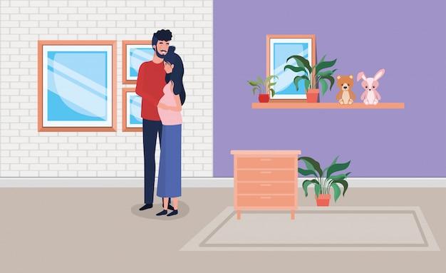 Zwangerschapspaar in huisplaats met lade