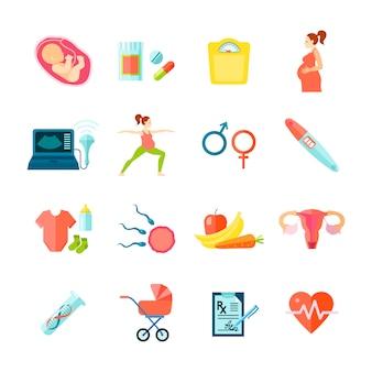 Zwangerschapspictogrammen met de vlakke geïsoleerde vectorillustratie die van gezondheidszorgsymbolen worden geplaatst