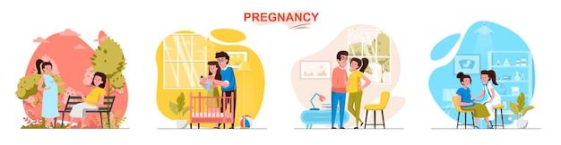 Zwangerschapsscènes in vlakke stijl