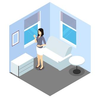 Zwangerschapstest isometrisch ontwerp