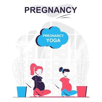 Zwangerschapsyoga geïsoleerd cartoonconcept zwangere vrouwen zitten in lotuspositie en mediteren