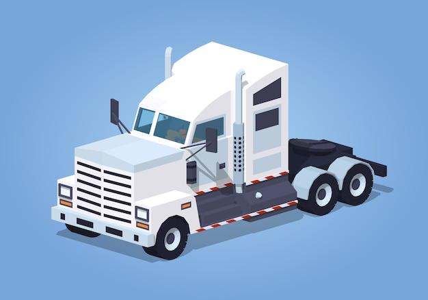 Zware 3d isometrische witte vrachtwagen