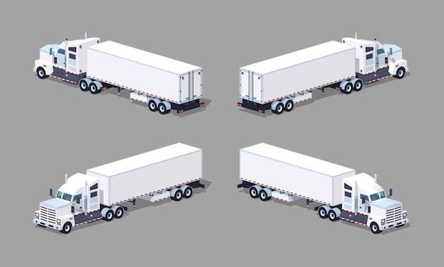 Zware 3d lowpoly isometrische witte vrachtwagen met de aanhangwagen