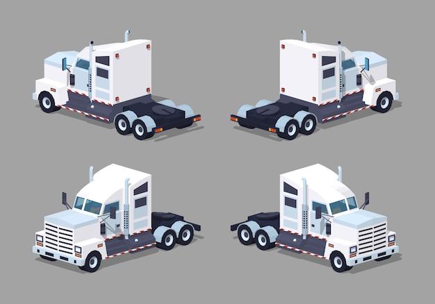 Zware 3d lowpoly isometrische witte vrachtwagen