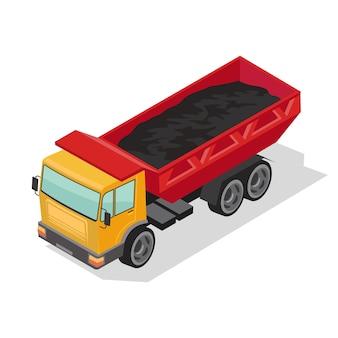 Zware dumper, vrachtwagen die kolen vervoert