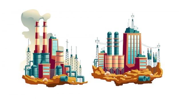 Zware industriefabriek, werkende thermische centrale of station met elektriciteit
