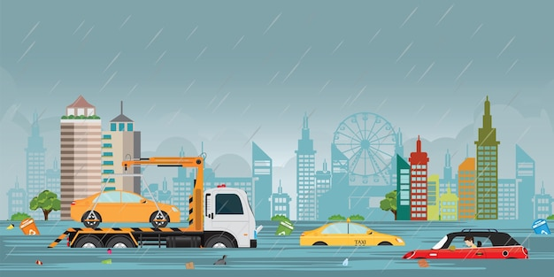 Zware regendalingen en stadsvloed op stadsmening.