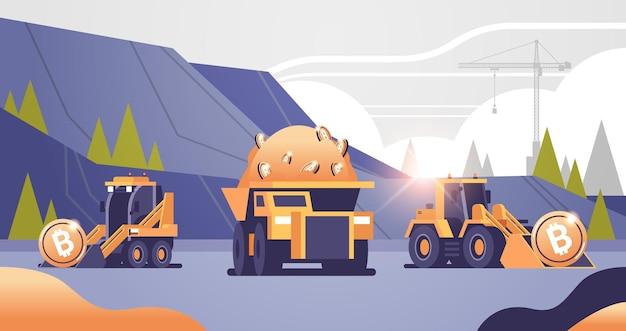 Zware vrachtwagens mijnbouw vervoer met bitcoins gouden munt digitale geld productie cryptocurrency blockchain concept bovengrondse steengroeve horizontale vectorillustratie