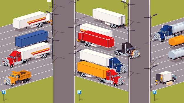 Zware vrachtwagens parkeerplaats