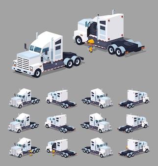 Zware witte 3d lowpoly isometrische vrachtwagen