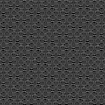 Zwart 3d gebogen geometrisch eenvoudig naadloos patroon