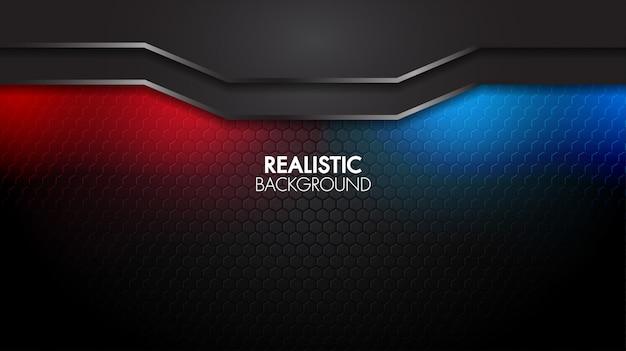 Zwart abstract mat geometrisch elegant futuristisch glanzend rood en blauw licht als achtergrond