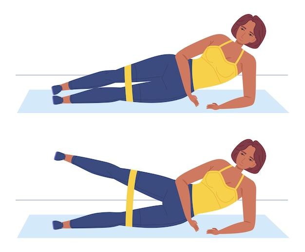 Zwart afrikaans meisje dat de kant van de liftbenen oefent, liggend op de mat thuissport zelftraining