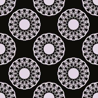 Zwart bedauwd naadloos patroon met vintage ornamenten. achtergrond in een vintage stijlsjabloon. indiase bloemenelement. grafisch ornament voor stof, verpakking, verpakking.
