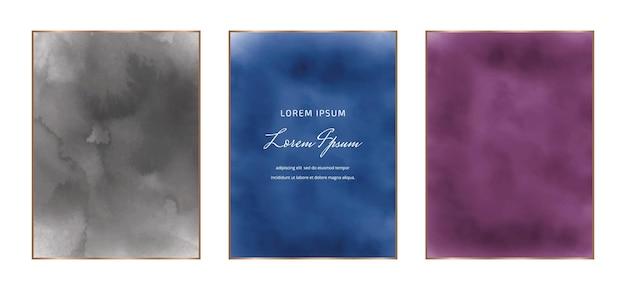 Zwart, blauw en paars rechthoekige aquarel frames