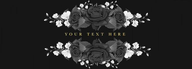 Zwart bloemen de kaartontwerp van de huwelijksuitnodiging