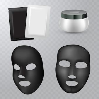 Zwart cosmetisch gezichtsmasker op transparante achtergrond voor uw ontwerp.