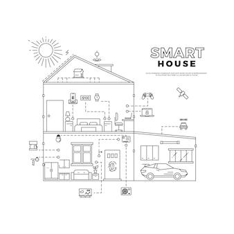 Zwart de technologiesysteem van het overzichts slim huis op wit