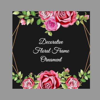 Zwart decoratief frame met bloemen en bladeren ornament