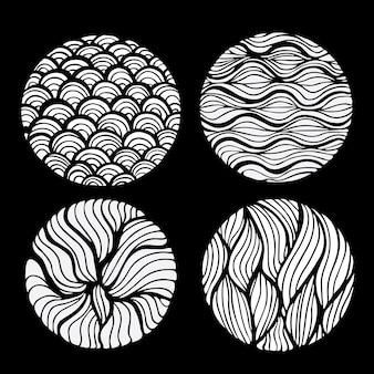 Zwart doodle ontwerp van inkt uit de vrije hand ronde witte cirkel kunst