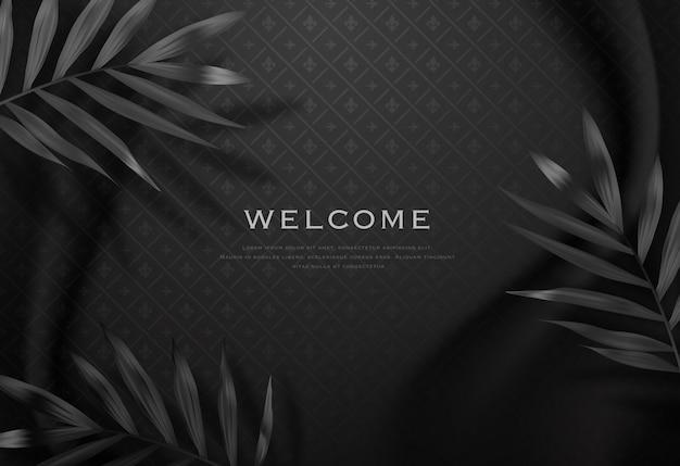 Zwart elegant stoffenmalplaatje als achtergrond