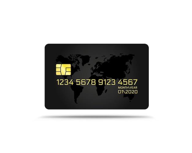Zwart elektronisch creditcardpictogram, financiële technologie, geïsoleerd op wit.