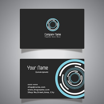 Zwart en blauw adreskaartje