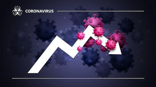 Zwart en blauw banner met een grote witte pijl, een grafiek omgeven door coronavirus moleculen