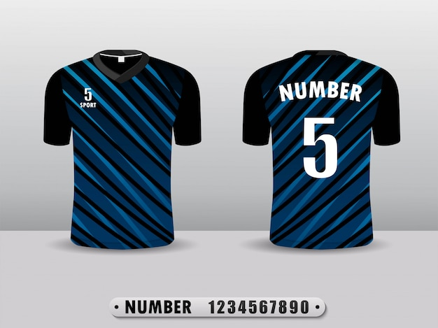 Zwart en blauw voetbalclub t-shirt sportontwerp.