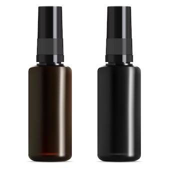 Zwart en bruin glazen medische fles. etherische olieflacon.